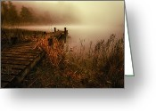 Loch Greeting Cards - Loch Ard early morning mist Greeting Card by John Farnan
