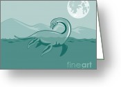 Dinosaur Greeting Cards - Loch Ness Monster Retro Greeting Card by Aloysius Patrimonio