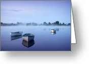 Loch Greeting Cards - Loch Rusky Moonlit Morning Greeting Card by David Mould