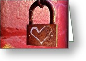 Featured Greeting Cards - Lock/heart Greeting Card by Julie Gebhardt