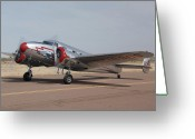 Lockheed Electra Greeting Cards - Lockheed 12A Electra Junior NC18906Casa Grande Airport Arizona March 5 2011 Greeting Card by Brian Lockett