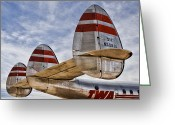 Airplane Greeting Cards - Lockheed Constellation Greeting Card by Carol Leigh