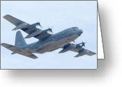 Tanker Greeting Cards - Lockheed HC-130P Hercules 64-14860 Davis-Monthan AFB Arizona March 8 2011 Greeting Card by Brian Lockett