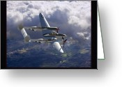Military Artwork Greeting Cards - Lockheed P-38 Lightning Greeting Card by Larry McManus