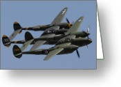 Glacier Greeting Cards - Lockheed P-38 Lightnings Glacier Girl and Skidoo Greeting Card by Brian Lockett