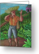 Puerto Rico Drawings Greeting Cards - Loco de contento Greeting Card by Oscar Ortiz