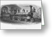 Roundhouse Greeting Cards - Locomotive Roundhouse Greeting Card by Granger