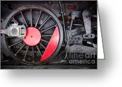 Train Photo Greeting Cards - Locomotive Wheel Greeting Card by Carlos Caetano