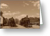 Baraboo Greeting Cards - Locomotives in Sepia Greeting Card by Charles Robinson