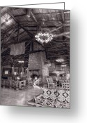 Fireplace Greeting Cards - Lodge Starved Rock State Park Illinois BW Greeting Card by Steve Gadomski