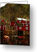 Cabins Greeting Cards - Lofoten Fishing Huts overlay version Greeting Card by Steve Harrington