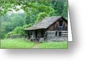 Appalachian Mountains Greeting Cards - Log Cabin Fort New Salem Greeting Card by Thomas R Fletcher