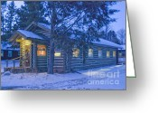 Log Cabin Photographs Greeting Cards - Log cabin library 1 Greeting Card by Jim Wright