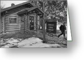 Log Cabin Photographs Greeting Cards - Log cabin library 11 Greeting Card by Jim Wright
