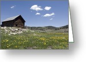 Log Cabins Photo Greeting Cards - Log Cabin On The High Country Ranch Greeting Card by Rich Reid