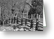 Split Rail Fence Greeting Cards - Log Fence Greeting Card by Rodney Campbell
