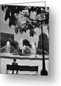 Swann Memorial Fountain Greeting Cards - Logan Circle Greeting Card by Andrew Dinh