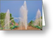 Cityhall Greeting Cards - Logan Circle Fountain 2 Greeting Card by Bill Cannon