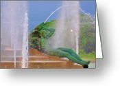 Cityhall Greeting Cards - Logan Circle Fountain 3 Greeting Card by Bill Cannon