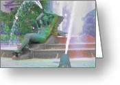 Swann Greeting Cards - Logan Circle Fountain 4 Greeting Card by Bill Cannon