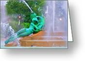 Swann Greeting Cards - Logan Circle Fountain 6 Greeting Card by Bill Cannon