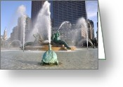 Philadelphia Greeting Cards - Logan Circle Fountain Greeting Card by Bill Cannon