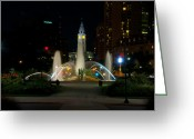 Swann Memorial Fountain Greeting Cards - Logan Circle Fountain with City Hall at Night Greeting Card by Bill Cannon