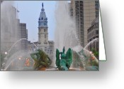 Swann Greeting Cards - Logan Circle Fountain with City Hall in Backround 2 Greeting Card by Bill Cannon