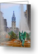 Swann Memorial Fountain Greeting Cards - Logan Circle Fountain with City Hall in Backround 3 Greeting Card by Bill Cannon