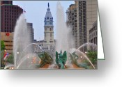 Swann Memorial Fountain Greeting Cards - Logan Circle Fountain with City Hall in Backround 4 Greeting Card by Bill Cannon