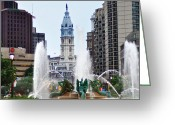 City Hall Greeting Cards - Logan Circle Fountain with City Hall in Backround Greeting Card by Bill Cannon