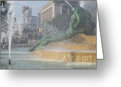 Swann Memorial Fountain Greeting Cards - Logan Square Fountain Greeting Card by Ann Horn