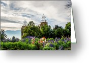 Mormon Temple Photography Greeting Cards - Logan Temple Flowers Greeting Card by La Rae  Roberts