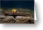 Grapple Greeting Cards - Logging Machine Greeting Card by Leslie Philipp