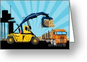 Cargo Greeting Cards - Logging Truck Greeting Card by Aloysius Patrimonio