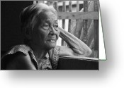 Older Woman Photo Greeting Cards - Lola Image number 33 in Black and white. Greeting Card by James Bo Insogna