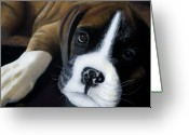 Animal Portrait Pastels Greeting Cards - Lola Greeting Card by James Geddes
