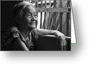 Older Woman Photo Greeting Cards - Lola Laraine Favorite Spot Image 28 in Black and White Greeting Card by James Bo Insogna