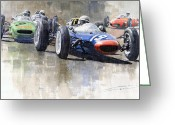 Hill Painting Greeting Cards - Lola Lotus Cooper Ferrari Datch GP 1962 Greeting Card by Yuriy  Shevchuk
