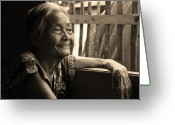 Older Woman Photo Greeting Cards - Lolas Favorite Spot Image 28 in Black and White Sepia Greeting Card by James Bo Insogna