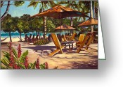 Umbrellas Greeting Cards - Lolas in Costa Rica Greeting Card by Christie Michael