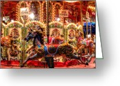 Merry-go-round Greeting Cards - London 106 Greeting Card by Lance Vaughn