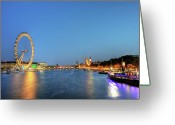 Arts Culture And Entertainment Greeting Cards - London At Night Greeting Card by Thank you for choosing my work.