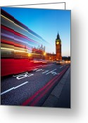 Nightshot Greeting Cards - London Big Ben Greeting Card by Nina Papiorek