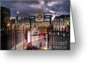 Trafalgar Greeting Cards - London Blur Greeting Card by GIStudio Photography