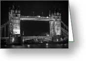 Shutter Bug Greeting Cards - London Bridge at Night BW Greeting Card by Kamil Swiatek