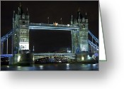 Medieval Architecture Greeting Cards - London Bridge at Night Greeting Card by Kamil Swiatek