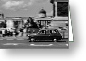 Trafalgar Greeting Cards - London Cab in Trafalgar Square Greeting Card by Aldo Cervato