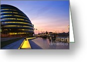 Great Hall Greeting Cards - London city hall at night Greeting Card by Elena Elisseeva