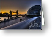 City Hall Digital Art Greeting Cards - London City Hall Sunrise Greeting Card by Donald Davis